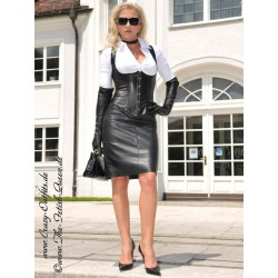 Leather skirt SSW-044 black