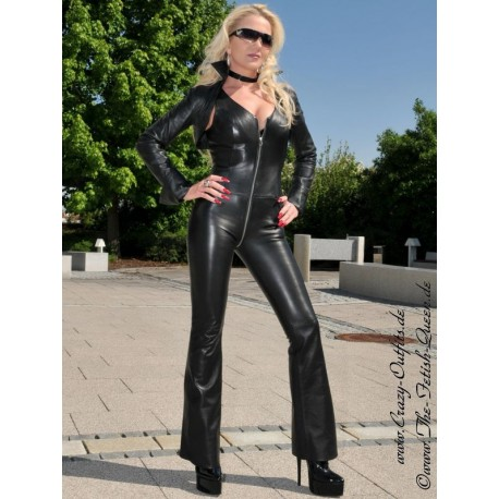 Leather catsuit DS-702 black