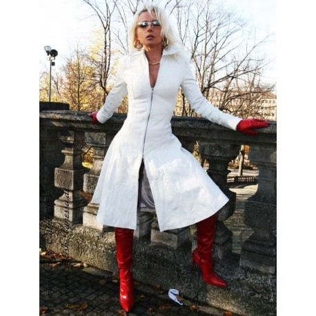 Leather coat DS-628 white