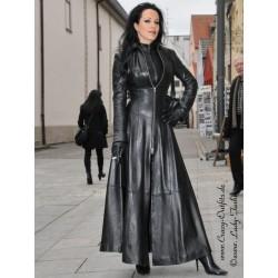 Leather coat, wide 4-012 black