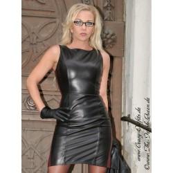 Leather dress DS-138 black/burgundy