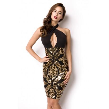 Pailletten-Kleid 14924 Schwarz/Gold