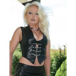 Leather vest DS-636 black