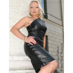 Leather dress DS-140 black