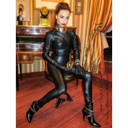 Leather catsuit DS-704 black