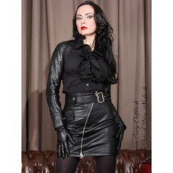 Leather skirt with belt DS-544 black