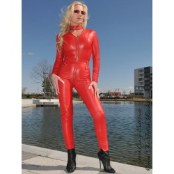Leather catsuit 4-013 red
