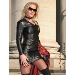 Leather dress DS-144 black