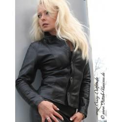 Leather blouse DS-322 black