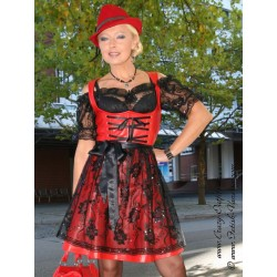 Leather dirndl DS-142 red