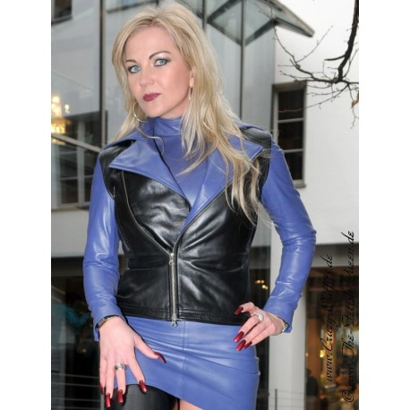 Leather jacket DS-642 Schwarz/Lila