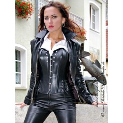Leather blouson DS-644 black