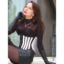 Leather corset DS-226 black/white