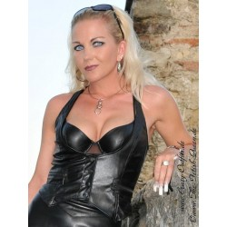 Leather vest DS-648 black