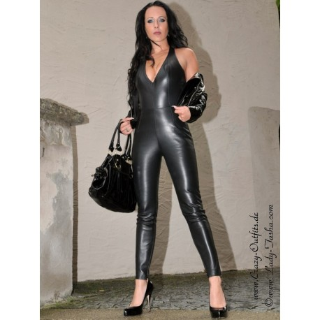 Leather catsuit DS-706 black