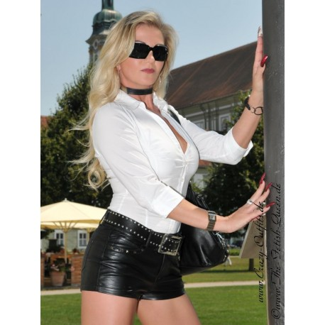 Leather hotpants DS-428 black