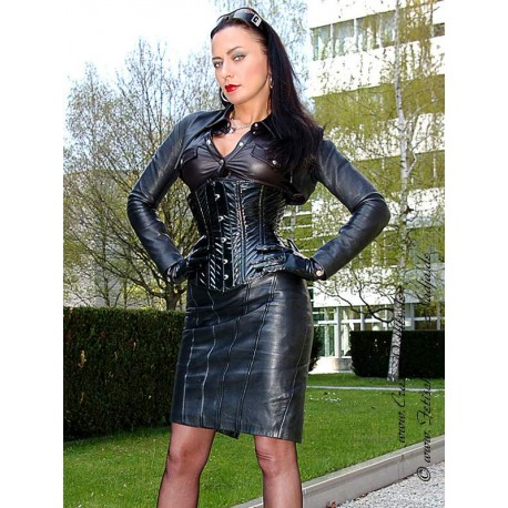 Leather skirt DS-546 black