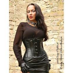Leather corset DS-228 black