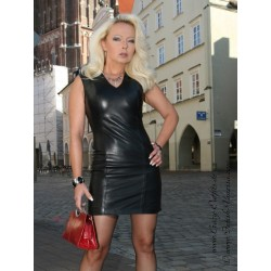 Leather dress DS-152 black