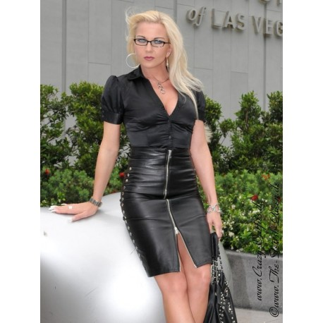 Leather skirt DS-550 black
