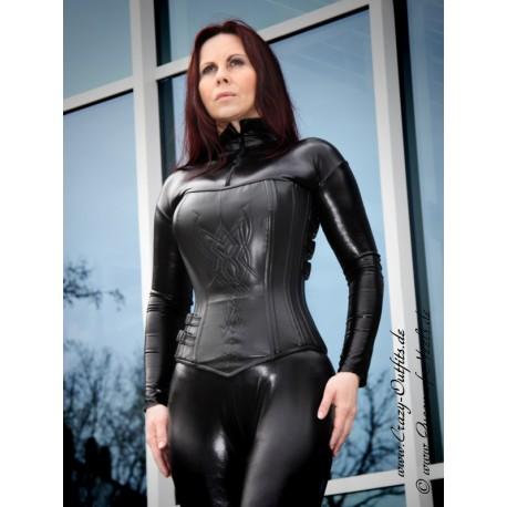 Leather corset DS-232 black