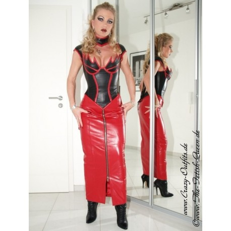Leather suit 4-020 black/red