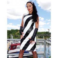 Leather dress DS-160 black/white