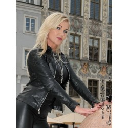 Leather blouson DS-656 black
