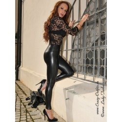 Faux leather leggings Razer black