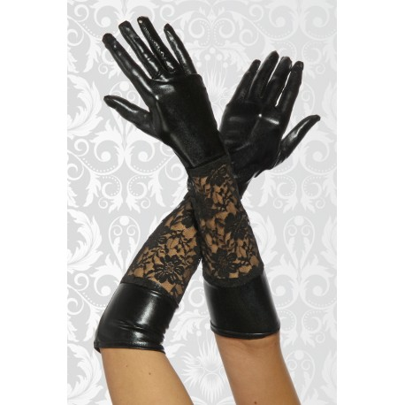 Wetlook-glove with lace 12446 black