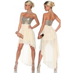 Abendkleid 13124 Creme/Silber