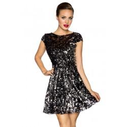 Pailletten-Kleid 13665 Schwarz/Silber