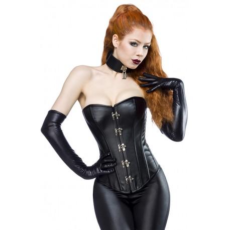 Faux leather corsage 13980 black