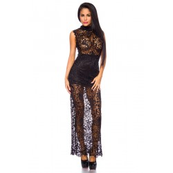 Evening dress with lace 13882 black
