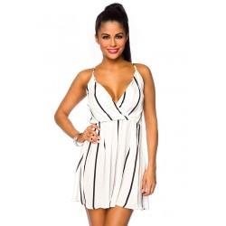 Sommerkleid 14237 Weiß/Schwarz