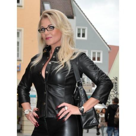 Leather blouse DS-332 black