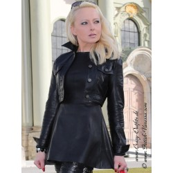 Leather jacket DS-601 black with black seams