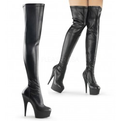Overknee Delight-3000 faux leather black