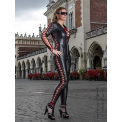 Leather catsuit DS-708 black
