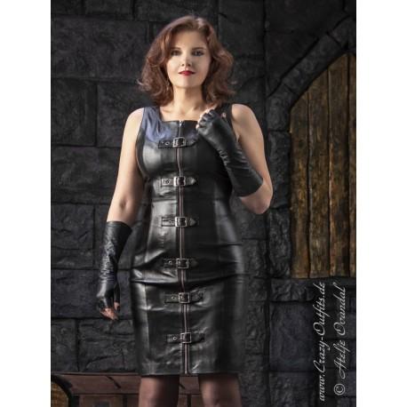 "Leather dress ""Sandy"" DS-162 black"