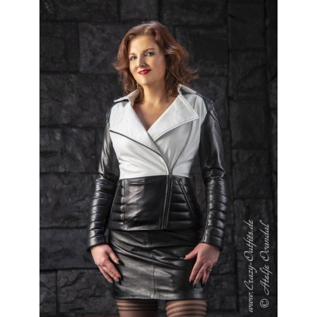 """Leather jacket """"Asa"""" DS-657 black/white"""