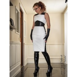 "Leather dress ""Paris"" DS-163 white/black"