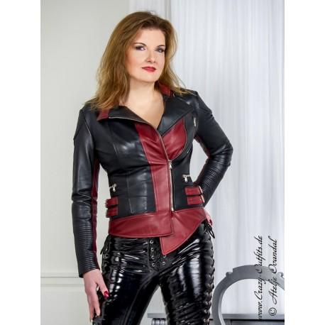 "Leather jacket ""Tina"" DS-659 black/dark red"