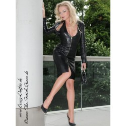 Leather dress DS-031 black
