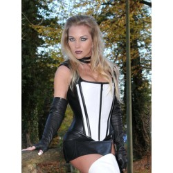 Leather top with Zipper 3-126 black/white
