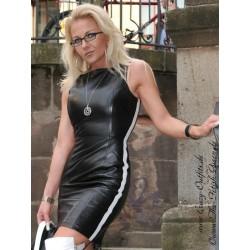 Leather dress DS-134 black/white