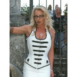 Leather corset 3-140 white/black
