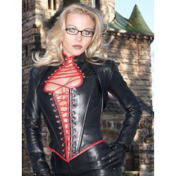 Leather top 3-145-A black/red