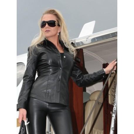 Großhandelsverkauf großer Rabatt neuesten Stil von 2019 Lederbluse DS-316