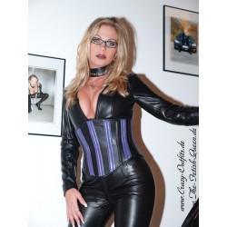 Leather corset 2-109 black/purple